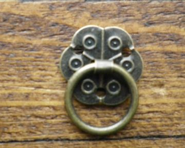 NEW Pair of small drop ring drawer handles ornate antique finish c/w screws C061